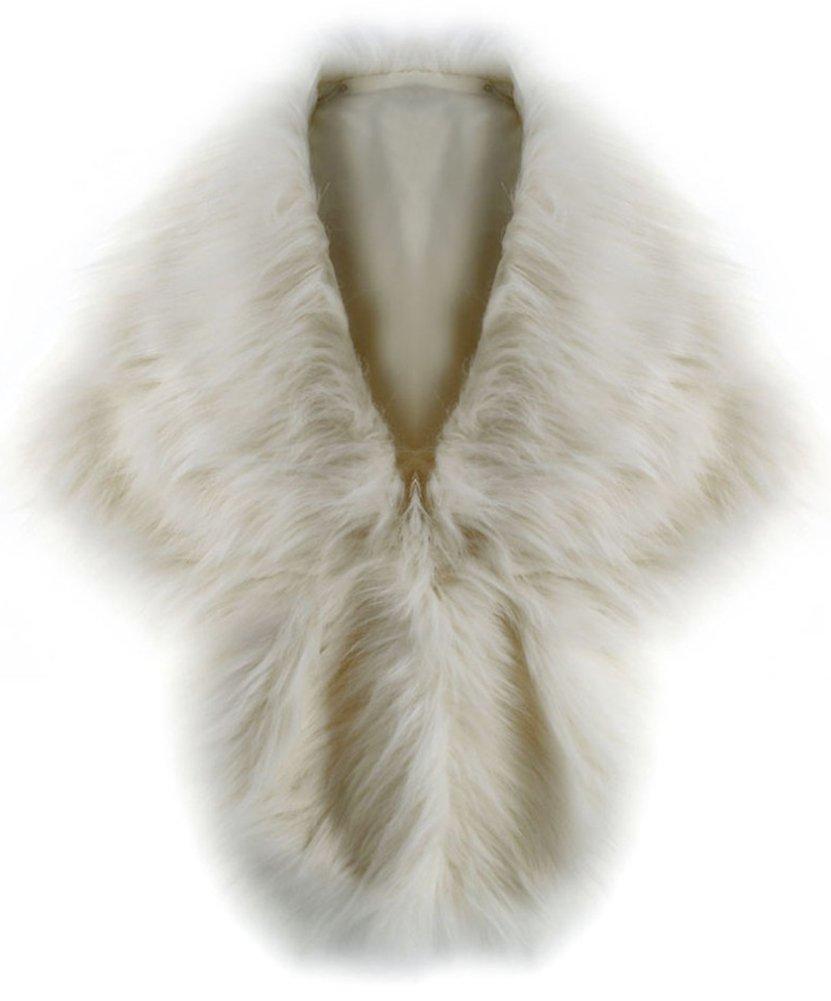 Women's Faux Fox Fur Shawl Wrap Stole Cape Shrug Winter Party Wedding Fluffy Warm Coat Style c