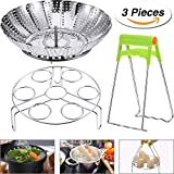 6 inch pressure cooker basket - Mtlee 3 Pieces Steamer Basket Rack Set, 5.5-9.3 Inch Fits 5, 6, 8qt Pressure Cooker with Foldable Bowl Plate Dish Clip Clamp Stainless Steel