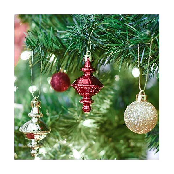 Valery Madelyn Palle di Natale 60 Pezzi di Palline di Natale, 3-5 cm di Lusso Rosso e Oro Infrangibile Ornamenti di Palla di Natale Decorazione per la Decorazione Dell'Albero di Natale 6 spesavip