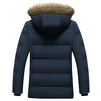 JiaMeng Abrigo Casual de Invierno con Capucha y Chaqueta de algodón Acolchado de Cachemira Engrosada Hombre Casual Chaqueta Jacket Cazadora Mangas Largas ...