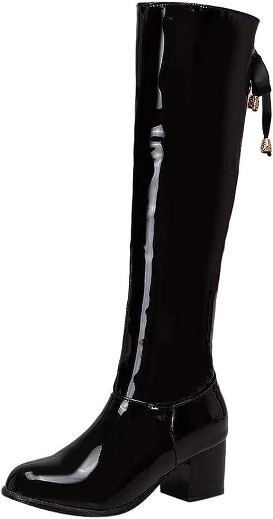 YGbuy Botas De Mujer, Cabeza Redonda con Cremallera Lateral De PU De Color Sólido De Moda con Botas Gruesas Interiores Botines De Mujer Botines De Cuero Caballero Boots Zip Cowboy Shoes