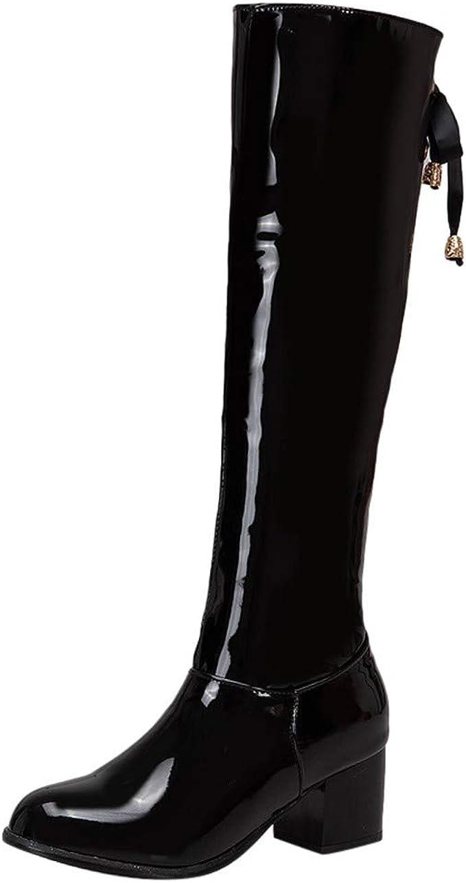 Stivali Donna Con Tacco Largo Invernali Pelle Eleganti Nera