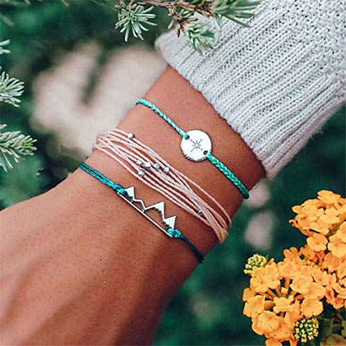 Woven Design Bracelet - Weiy Bohemian Multilayer Woven Bracelet Fashion Vintage Stylish Charming Mountains Compass Bead Design Bangle Bracelet Jewelry Accessories