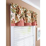 Better Homes and Gardens Gingham and Blooms Printed Valance, 60″ x 14″ For Sale