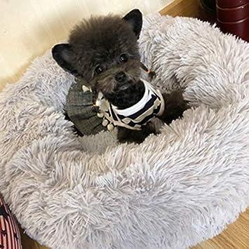 Cuccia per Gatti e Cani di Taglia Piccola e Media a Ciambella Rotondo o Ovale con Morbido Cuscino Lamzoom Deluxe