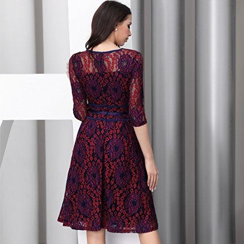 eba179f7d7e41 Miusol Womens Vintage Floral Lace 2 3 Sleeve Cocktail Evening Party Dress