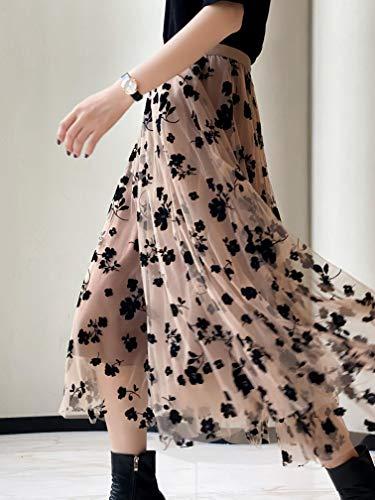 Women Tutu Tulle Skirt Elastic High Waist Layered Skirt Floral Print Mesh A-Line Midi Skirt