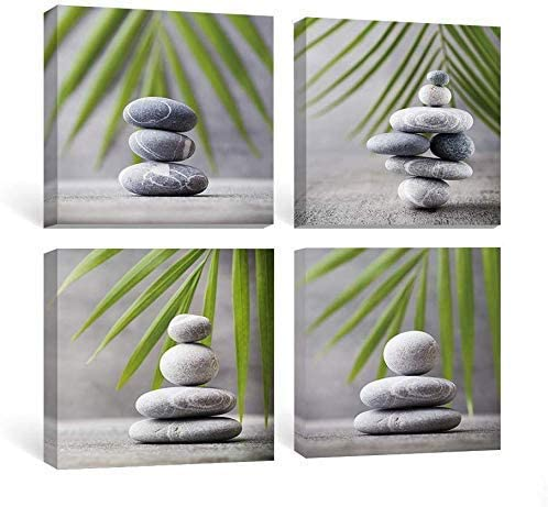 Sumgar Grey Stones and Green Leaf Art