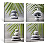 SUMGAR Bathroom Wall Art Zen Canvas Paintings Nature Green Leaf Pictures Gray Prints Grey Stone Artwork 4 Piece,12x12 in