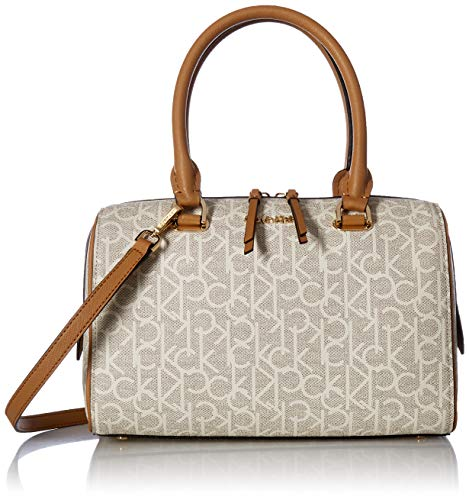 Calvin Klein Mercy Signature Key Item Bowler Satchel, txt alm khk/cashew