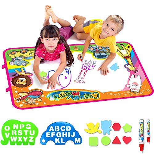 AiToy Aqua Magic Mat, Water Drawing Mat Extra Large Kids Toys Toddlers Painting Board Writing Mats with 2 Magic Pens and Letter Templates for Boys Girls Gift Size 34.5