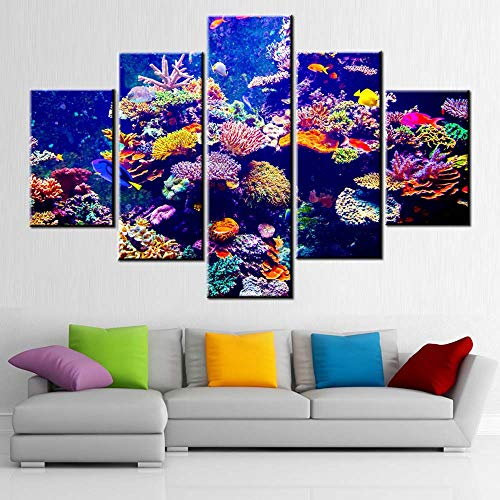 House Decoration Living Room Coral Reef and Tropical Fish in Sunlight Picture Underwater Seascape Painting Contemporary Artwork Red Canvas Artwork Framed Ready to Hang Posters and Prints(60''Wx40''H)