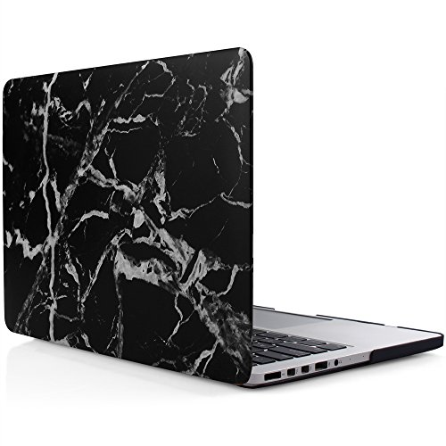 iDOO Soft Touch Plastic Hard Matte Case ONLY for MacBook Pro 13 inch with Retina Display NO CD Drive (A1425 / A1502) - Black Marble