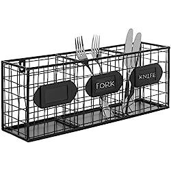 Black Metal Wall Mounted Mail Sorter/Kitchen Storage Basket/Pantry Organizer w/Chalkboard Labels