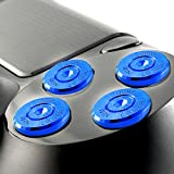 Xinkeen Aluminum Alloy PS4 Controller Replacement Thumbsticks Bullet ABXY Buttons and Directional Pad Mod Kit for Playstation 4 DualShock 4 (Blue)