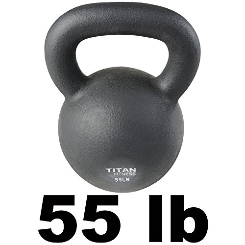 Cast Iron Kettlebell Weight 55 lb Natural Solid Titan Fitness Workout Swing