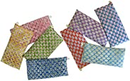 Scented Eye Pillows - Pack of (8) - Soft Cotton 10 x 22 - Organic Lavender Flax Seed - Hand Block Print - Leaf