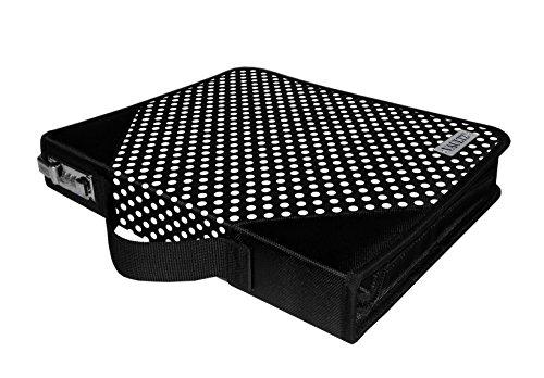 "Vaultz Locking Zipper Binder, 2.28"" x 11.22"" x 14"", Black/White Polka Dot (VZ03613)"