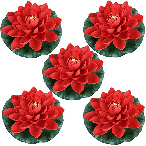 Lantern Garden Fountain Oriental - Just Artifacts 5pc Foam Lotus Floating Water Flower Candle-Free (Color: Red)