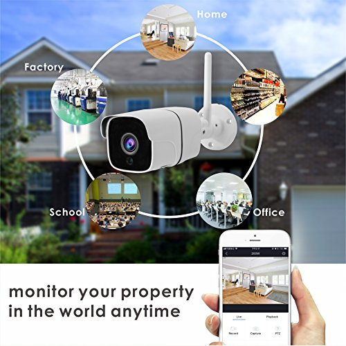 Inwerang 1080P WiFi IP Bullet Security Camera, 2MP Onvif Network CCTV Camera, IP66 Waterproof Outdoor/Indoor, 49ft IR Night Vision, Audio in(Built-in Microphone), Support Max 64GB SD Card(External)