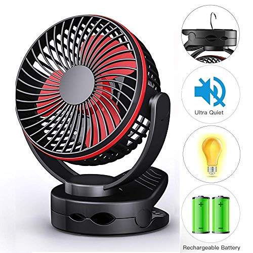 Portable Camping Lantern Clip on Fan, Tent Ceiling Fan with Hook, Battery Operated 4 Speed Quiet Desk Fan, USB Rechargeable 3600mAh Battery, Mini Fan Night Light for Camping, Travel, Home, Office