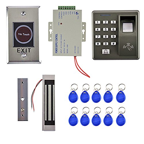Dovewill Door Access Control System with 300LBS Magnetic Door Lock 5 RFID Keyfobs Fingerprint Controller by Dovewill