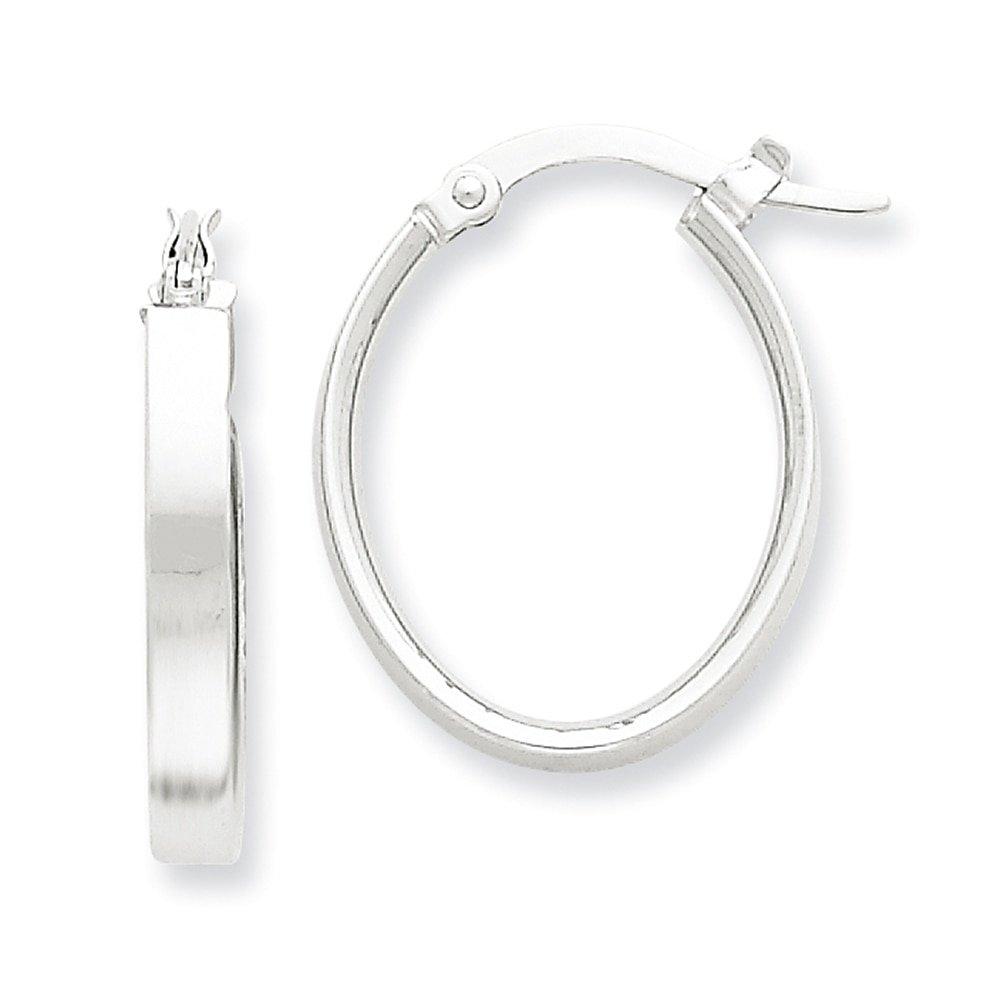 Lex /& Lu 14k Yellow Gold /& Rhodium Oval Hoop Earrings LAL79426