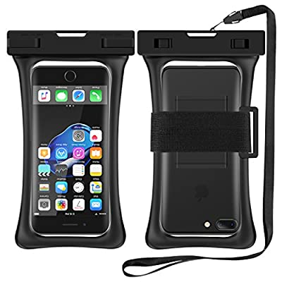 "[Floating] Waterproof Cell Phone Case, RANVOO Dry Bag Pouch for iPhone 7 plus,7, Samsung Galaxy S8 Plus, S7,S6,Edge,Note 3,4,5, LG G5,G6,with Armband and Lanyard, Up to 6.2""- Black by RANVOO"
