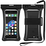 """[Floating] Waterproof Cell Phone Case, RANVOO Dry Bag Pouch for iPhone X 8 8 Plus 7 7 plus 6 6s 6 Plus, Samsung Galaxy S8 Plus, S8,Edge,Note 8,7, LG G5,G6,with Armband and Lanyard, Up to 6.3""""- Black"""
