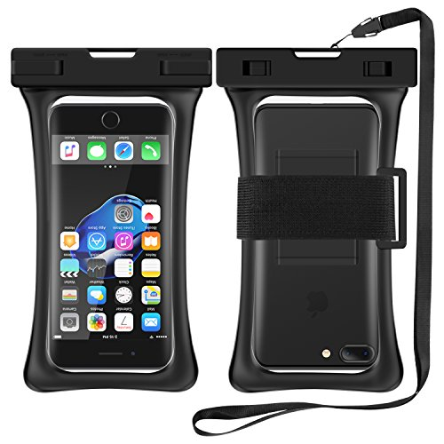 [Floating] Waterproof Cell Phone Case, RANVOO Dry Bag Pouch for iPhone X 8 8 Plus 7 7 plus 6 6s 6 Plus, Samsung Galaxy S8 Plus, S8,Edge,Note 8,7, LG G5,G6,with Armband and Lanyard, Up to 6.3″- Black