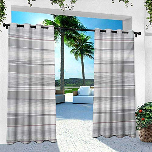 leinuoyi Modern, Outdoor Curtain Kit, Trippy Stripes with Wooden Zig Zag Effects Party Elements Featured Image Print, Set for Patio Waterproof W72 x L96 Inch Silver Grey
