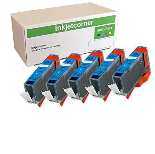 Inkjetcorner 5 Pack Cyan Compatible Ink Cartridges Replacement for CLI-226 for use with iX6520 MG5120 MG5220 MG5320 MX882 MX892 MG6120 MG6220 MG8120 ()