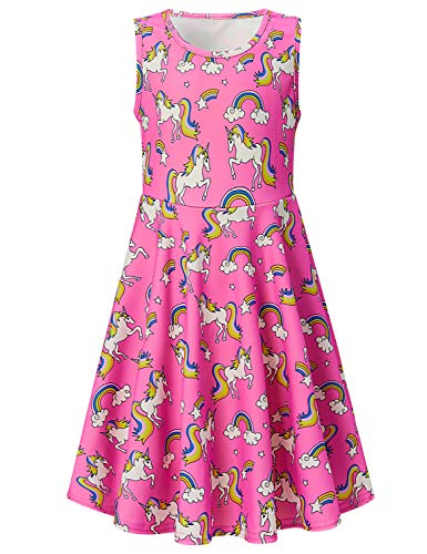 Big and Tall 10-13 Years Old Girls Summer Dresses Super Cute Pink Unicorn Printed Sleeveless Skirts for Kids Casual Playwear Dress XL -