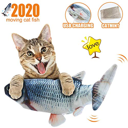 【2020 NEW】Moving Cat Kicker Fish Toy, Realistic Flopping Fish, Wiggle Fish Catnip Toy, Motion Kitten Toy, Plush…