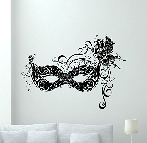 Masquerade Mask Wall Decal Carnival Vinyl Sticker Attraction Wall Decor Cool Wall Art Kids Teen Girl Boy Room Wall Design Modern Bedroom Wall Decor Mural (Music Masquerade Mask)