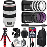 Canon EF 70-300mm IS USM Lens + UV-CPL-FLD Filters + Macro Filter Kit + 72 Monopod + Lens Hood + 64GB Class 10 + Backpack + Spider Tripod + Wrist Strap + Card Reader - International Version