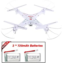 SYMA 0X5C X5C-1 RC Quadcopter with Extra 2 720mAh Li-Po 4 Rotating Blade, 4-in-1 Battery Charger, 4G Micro SD Card