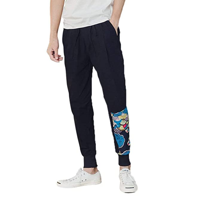 8076986950 Moda para Hombre Adolescentes Pantalones Transpirable Pantalones De Lino  Vintage Casual Harem Pantalones Gran Tamaño Pantalones De Chándal Estilo  Étnico  ...