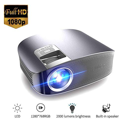 Mengen88 LED-Video-Projektor, Mini Multimedia Movie Projector mit eingebautem Doppel-Horn 1080P Full HD für Video/Movie…