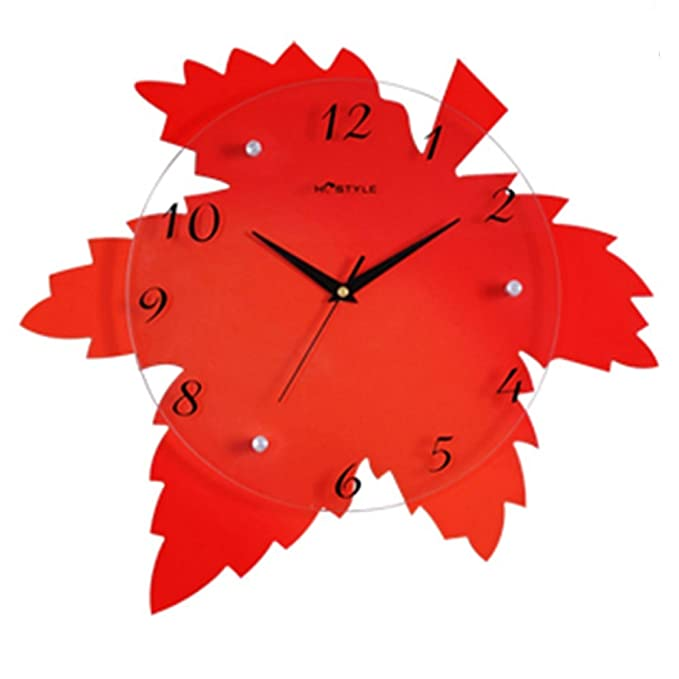 Amazon.com: Wall Clock Maple Leaf Moda Personalidad Creativa Reloj De Pared Reloj Mudo Sala De Estar Dormitorio Reloj Decorativo: Home & Kitchen
