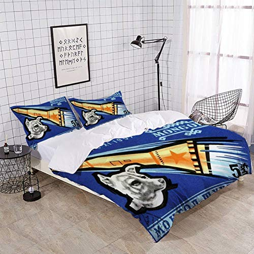 XZBLCMWYBYYYQ 1963 Mongolia Laika First Dog in Space Postage Stamp Bedding Duvet Cover Setting Duvet Cover with Pillowcases Queen Bedding Sets for Kids and Family Home Decor Soft Comfy (The First Dog In Space Laika Information)