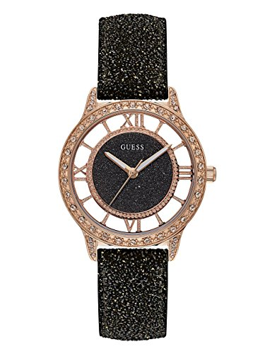 GUESS Women's Stainless Steel Glitz Leather Casual Watch, Color: Black (Model: U1014L1)