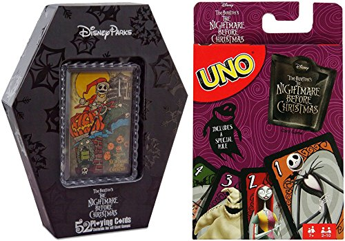 Nightmare Uno Matching Card Game & The Nightmare Before Christmas Collection 52 Playing Cards Set Box with Collectible Card Pack