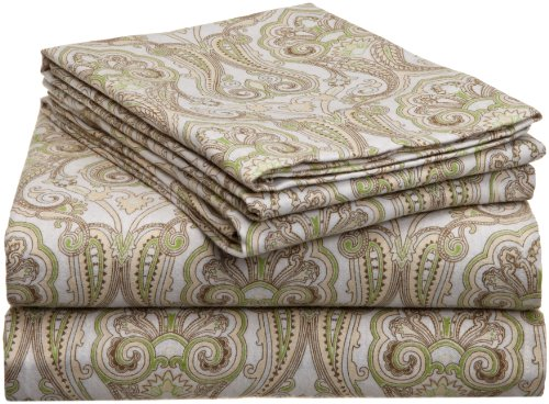 - Pointehaven Heavy Weight Printed Flannel Sheet Set, Cal King, Paisley Sage