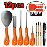Powerful 12 PCS Most Useful Carving Essentials - Professional Pumpkin Carving Tools Kit Knife Set for Kids DIY Halloween Jack-o-Lantern Pumpkins Candles Decorations