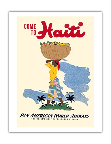 Come to Haiti - Pan American World Airways - Vintage World Travel Poster by E. Lafond c.1950s - Fine Art Print - 20in x 26in ()