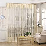 AIHOME Tulle Voile Door Window Curtain Drape Panel Sheer Scarf Valances with Leaf Pattern for Bedroom Living Room Children's Room Veranda (39 x 98inches, 2 Panels)