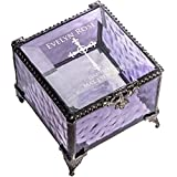 Baptism Gift for Girls Personalized Keepsake Box Purple Stained Glass Engraved Cross Jewelry J Devlin Box 836 EB222