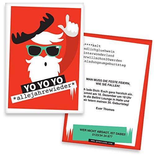 Einladung Weihnachtsfeier Lustiger Text.Einladungskarten Geburtstag Yo Yo Yo 50 Stück Weihnachtsfeier Inkl Druck Ihrer Texte Einladungen Geburtstag Lustige Geburtstagseinladungen