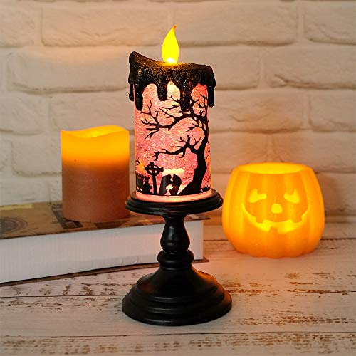 Eldnacele Halloween Tornado Light Snow Globe Candle Decoration, Battery Operated LED Halloween Flameless Candle for Table and Porch Decoration, -